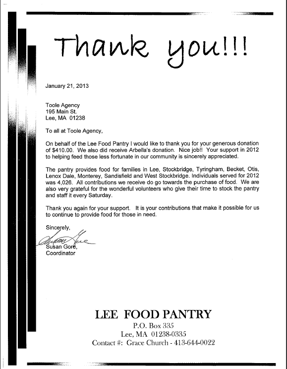 Thank you to Lee food pantry