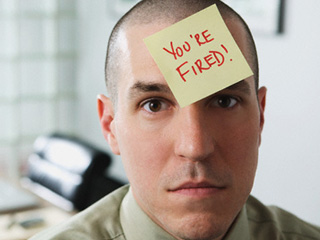 Your fired sticky on forehead of man